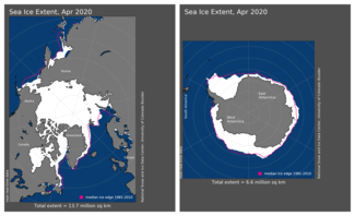April 2020 Arctic and Antarctic Sea Ice Extent Map