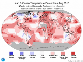 Map of global temperature percentiles for August 2018