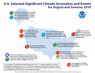 Map of U.S. selected significant climate anomalies and events for August 2018