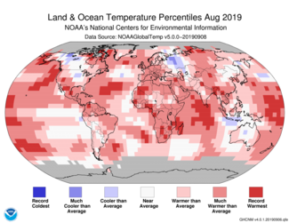 Map of global temperature percentiles for August 2019