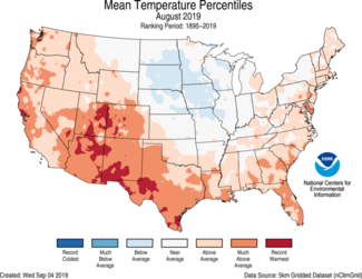 Map of August 2019 U.S. average temperature percentiles
