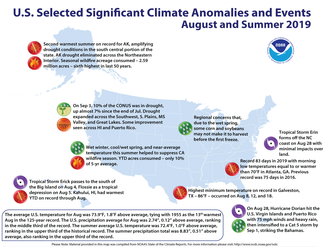 Map of U.S. selected significant climate anomalies and events for August 2019