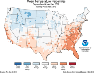 Autumn 2019 US Average Temperature Percentiles Map
