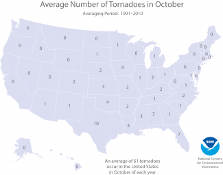 Map of the average number of October tornadoes for each state in the United States