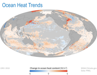 Map of change in ocean heat content for 2018 State of Climate report