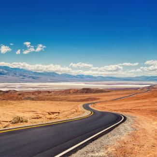Picture of road winding through Death Valley