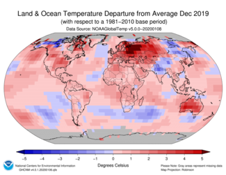 December 2019 Global Temperature Departure from Average Map