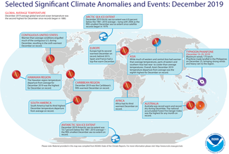December 2019 Global Significant Climate Events Map