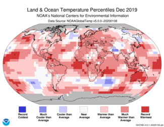 December 2019 Global Temperature Percentiles Map