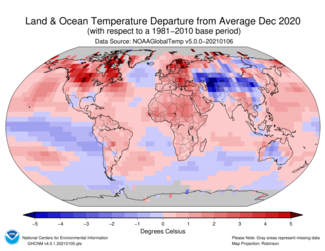 December 2020 Land and Ocean Temperature Departures from Average