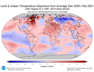 December-to-February 2021 Global Temperature Departures from Average Map