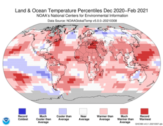 December-to-February 2021 Global Temperature Percentiles Map