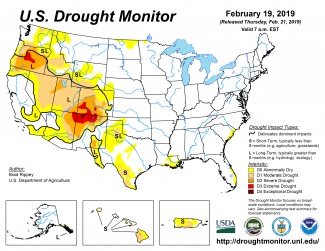 Map of February 19, 2019, U.S. Drought Monitor