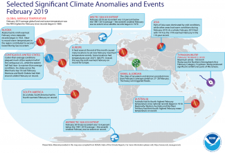 Map of global selected significant climate anomalies and events for February 2019