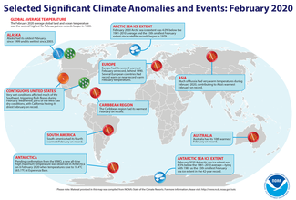 Map of global selected significant climate anomalies and events for February 2020