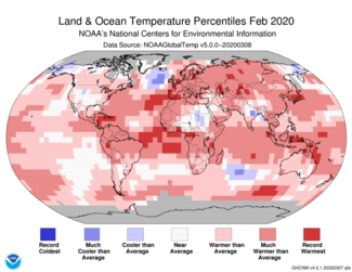 Map of global temperature percentiles for February 2020