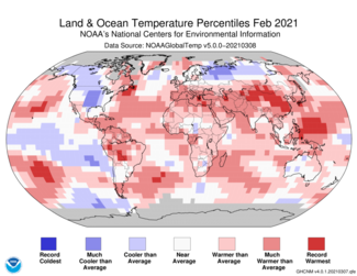 February 2021 Global Temperature Percentiles Map