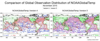 Maps comparing global coverage of two datasets: NOAAGlobalTemp version 4 and version 5