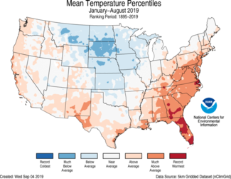 Map of January-to-August 2019 U.S. average temperature percentiles