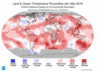Map of global temperature percentiles for January–March 2019