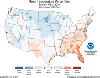 Map of U.S. average temperature percentiles for January–March 2019