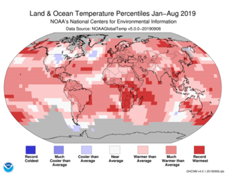 Map of global temperature percentiles for Jan-to-Aug 2019