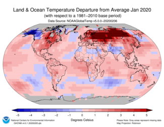 January 2020 Global Temperature Departures from Average Map