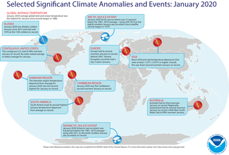 January 2020 Global Significant Climate Events Map