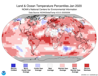 Gennaio 2020 Mappa delle percentuali di temperatura globale