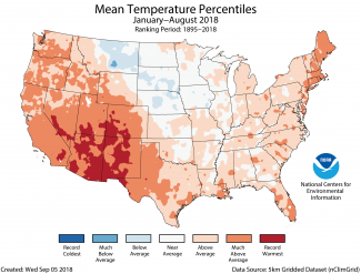 Map of January to August 2018 U.S. average temperature percentiles