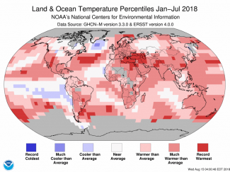 Map of global temperature percentiles for January to July 2018