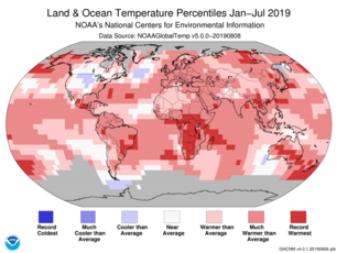 Map of global temperature percentiles for January to July 2019