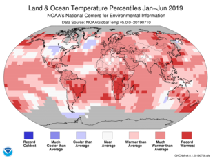 Map of global temperature percentiles for January–June 2019
