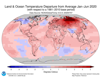 January to June 2020 Global Land and Ocean Temperature Departures from Average Map