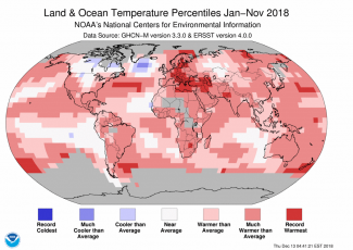Map of global temperature percentiles for January to November 2018