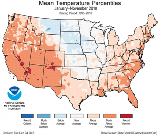 Map of January to November 2018 U.S. average temperature percentiles