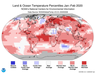 Map of global temperature percentiles for January–February 2020