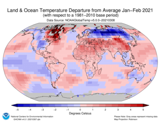 January-to-February 2021 Global Departures from Average Map