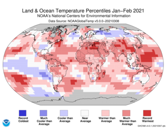 January-to-February 2021 Global Temperature Percentiles Map