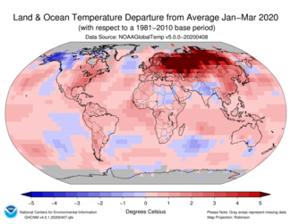 January-to-March 2020 Global Temperature Departure from Average Map