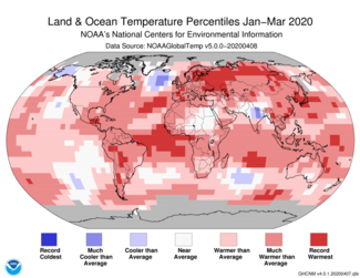 January-to-March 2020 Global Temperature Percentiles Map