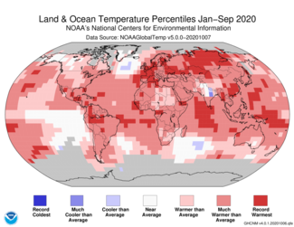 January-to-September 2020 Global Land and Ocean Temperature Percentiles Map