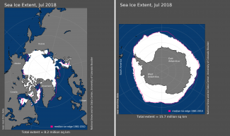 Maps of Arctic and Antarctic sea ice extent in July 2018