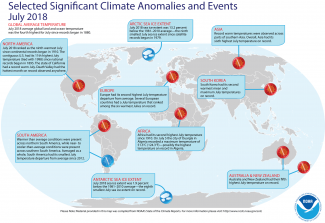 Map of global selected significant climate anomalies and events for July 2018