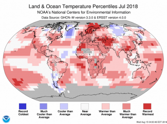 Map of global temperature percentiles for July 2018