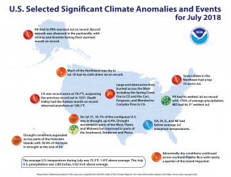Map of U.S. selected significant climate anomalies and events for July 2018