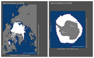 Maps of Arctic and Antarctic sea ice extent in July 2019