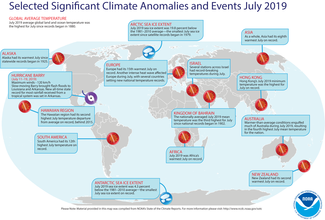 Map of global selected significant climate anomalies and events for July 2019