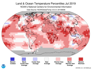 Map of global temperature percentiles for July 2019