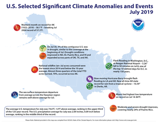 Map of U.S. selected significant climate anomalies and events for July 2019